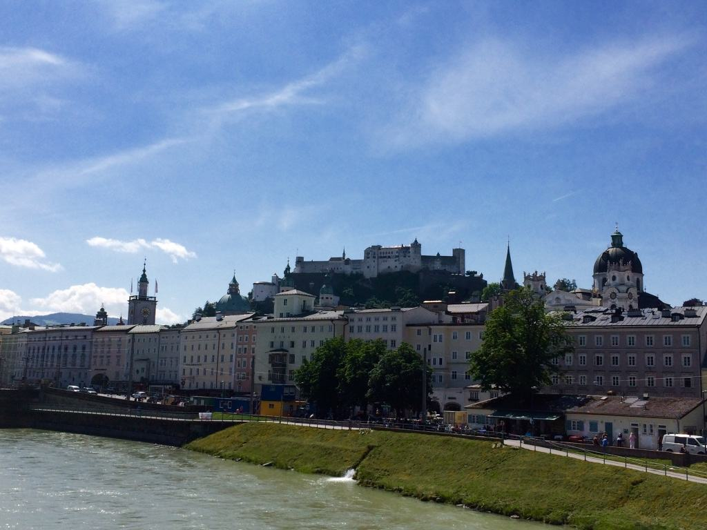 view to the old town from the Salzach river