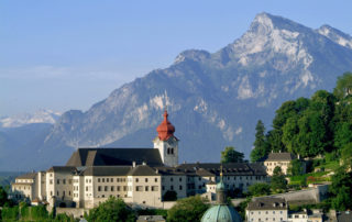 abbey of Nonnberg with Untersberg mountain