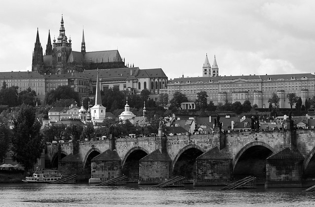prague city with river and castle
