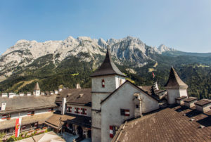 fortress of Werfen with mountains
