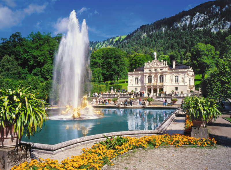 outside at Linderhof palace in Summer