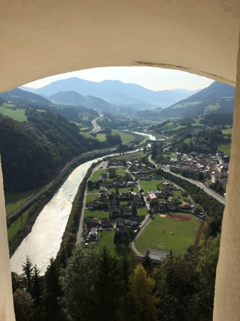 view from the fortress of Werfen into the Salzach valley
