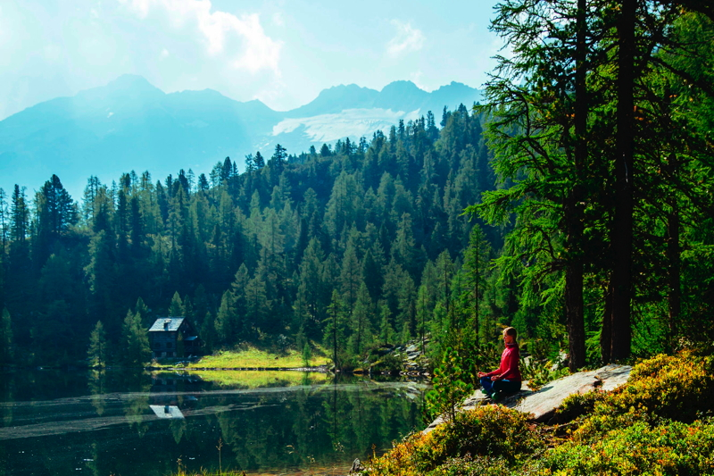 relaxing at a mountain lake within Austria